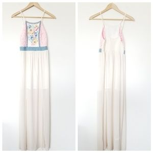 Flying Tomato maxi dress embroidered Sz XS beige